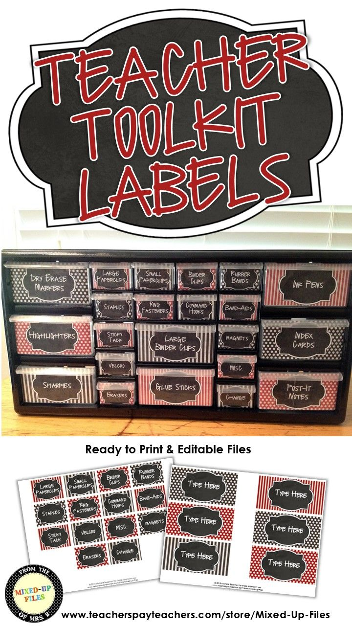 This classroom organizer teacher toolkit will keep your desk and teacher area looking cute!  Labels are designed to use with Lowe's 22-drawer plastic storage cabinet and include labels for common classroom teacher supplies, as well as a set of editable labels so that you can add your own personal favorites. -- I've seen these all over pinterest, but I wanted them in my own classroom color scheme!