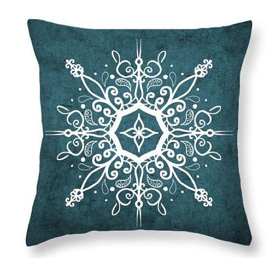 Verde azulado y blanco Mandala almohada, almohadilla de tiro de Mandala, Mandala sofá almohada, accesorios Bohemia, Resumen diseño, Boho almohada, almohada decorativa