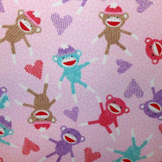 Snuggle flannel fabric sock monkey pink at for Nursery monkey fabric