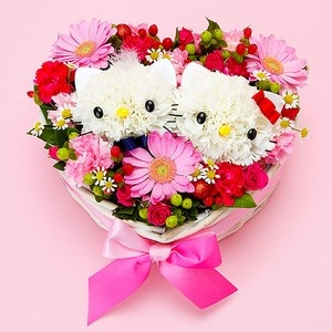 Hello Kitty, we can do something like this more on a 3-D scale! Give us a call! This is a different kind of arrangement! H Florist we love to do unique arrangements and this is a fun idea. 269-429-3621. Thank you.
