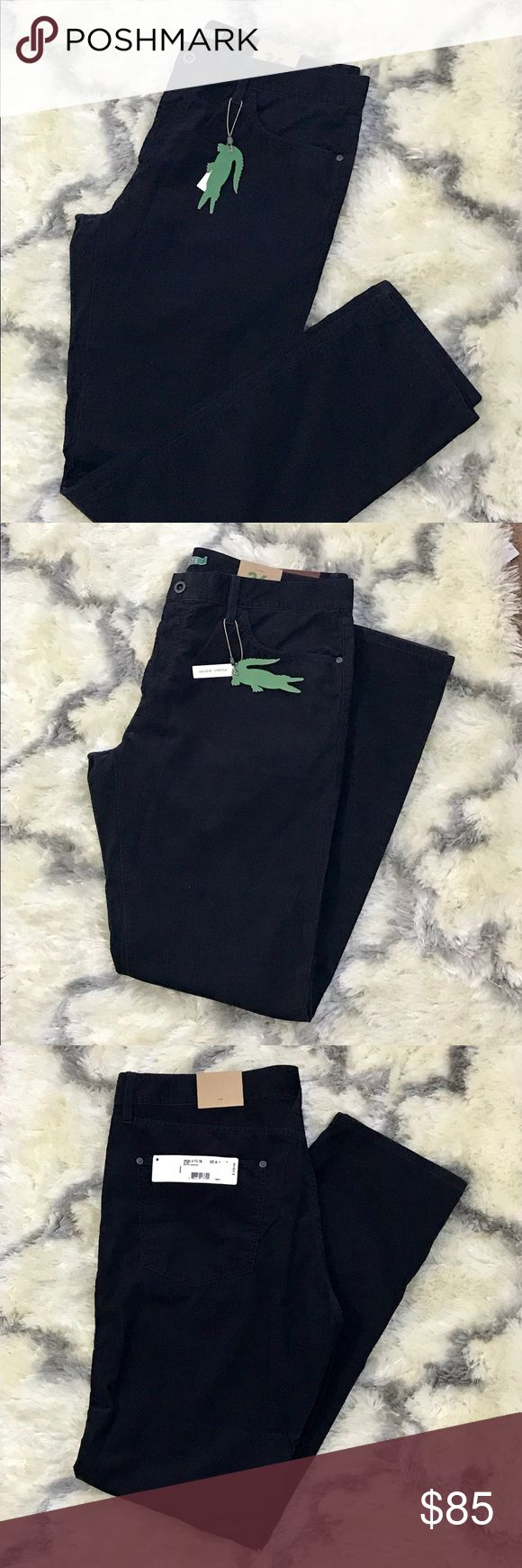 Lacoste Corduroy Pants NWT navy blue corduroy button fly pants. Size 36 in US. Waistline is 38, Inseam is 33. Lacoste Pants Corduroy