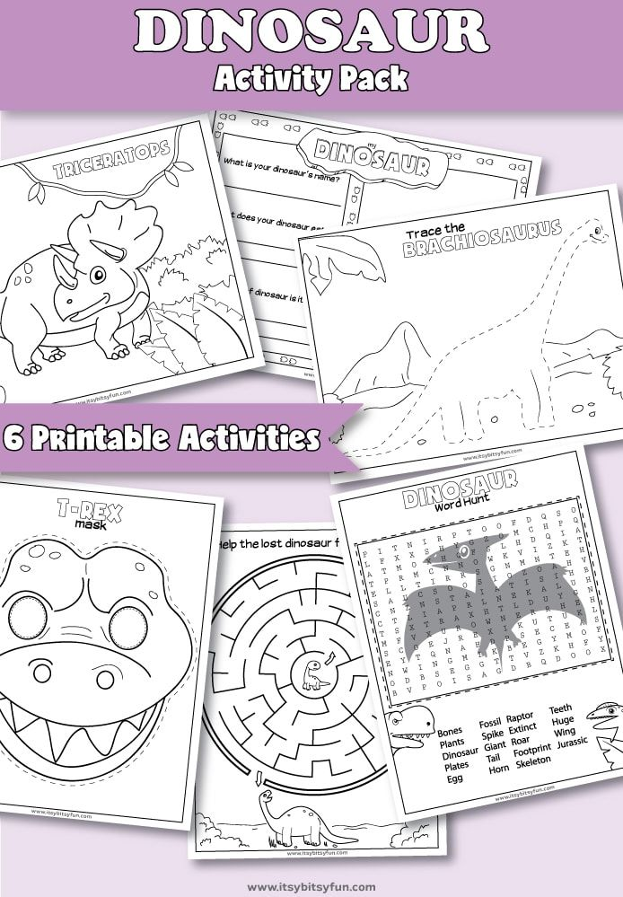 Printable Dinosaur Activities For Preschool. Fun Dinosaur Themed Worksheets  For … - Prickelbilder Vorlage