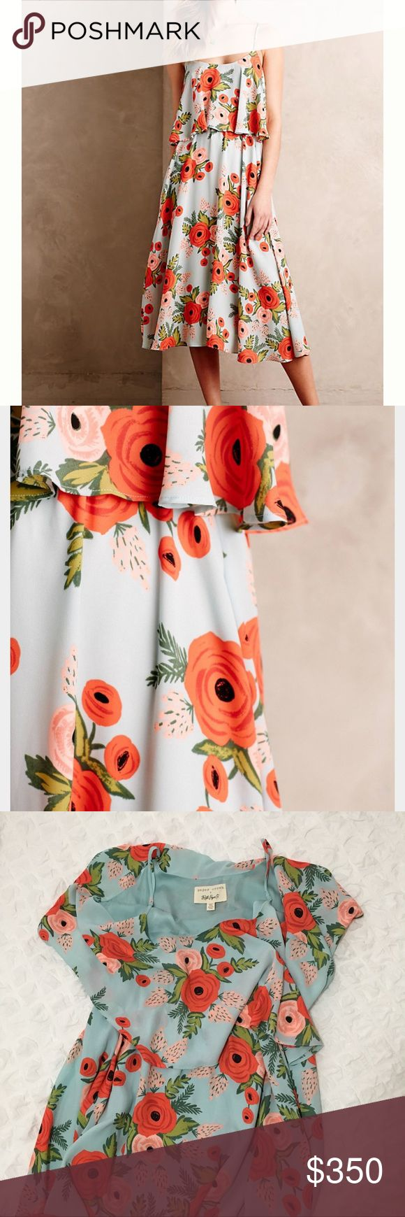 🌺Rare!🌸 Paper Crown/Rifle Paper Co Dress! Paper Crown/Rifle Paper Company/Anthropologie Floral Poppy Fields Midi Dress! ✨🌼🌿👑 Perfect Condition. NWT! Size M. No Longer Sold. Rifle Paper Company Dresses Midi