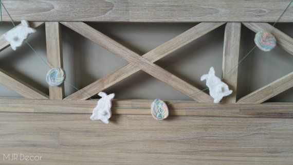 Easter Garland  with Bunnies and Eggs by MJRDecor on Etsy