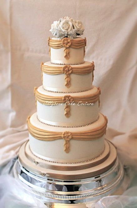 wedding cake with ribbon glamorous gold and white wedding cake all edible yo 26957