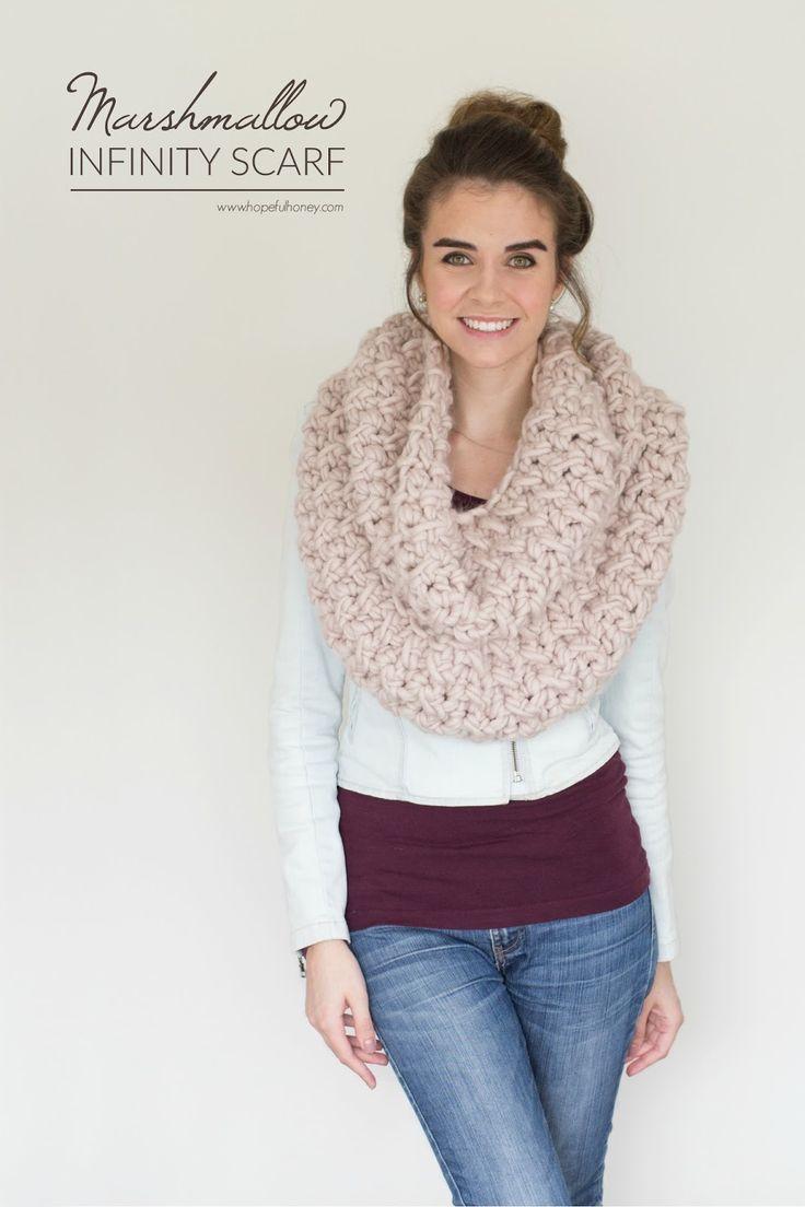 Marshmallow Infinity Scarf - Free Crochet Pattern by Hopeful Honey
