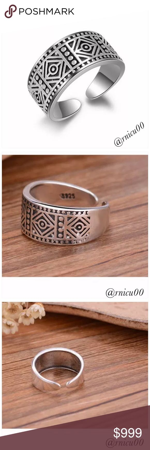 """🆕925 Sterling Silver Boho Aztec Trendy Ring! Stamped """"925"""", this is a Fun, Boho, Aztec Design, Trendy Ring! Size is adjustable!  *NO TRADES* *Reasonable Offers thru option⤵️ *Sales are Final, Bundle for Discounts! Boutique Jewelry Rings"""