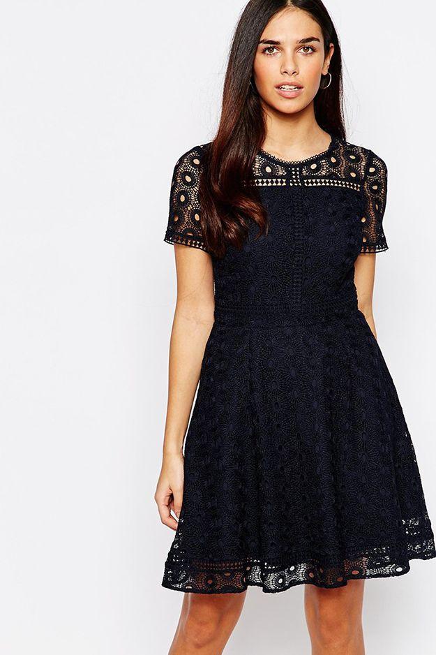 navy lace skater dress