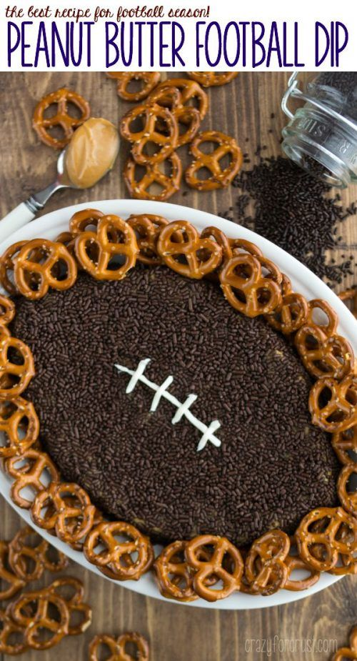 Peanut Butter Football Dip - Tailgating Recipes and Football Party Food Ideas for your stadium gathering on Frugal Coupon Living. Dessert Football Recipes. Appetizers for game day.