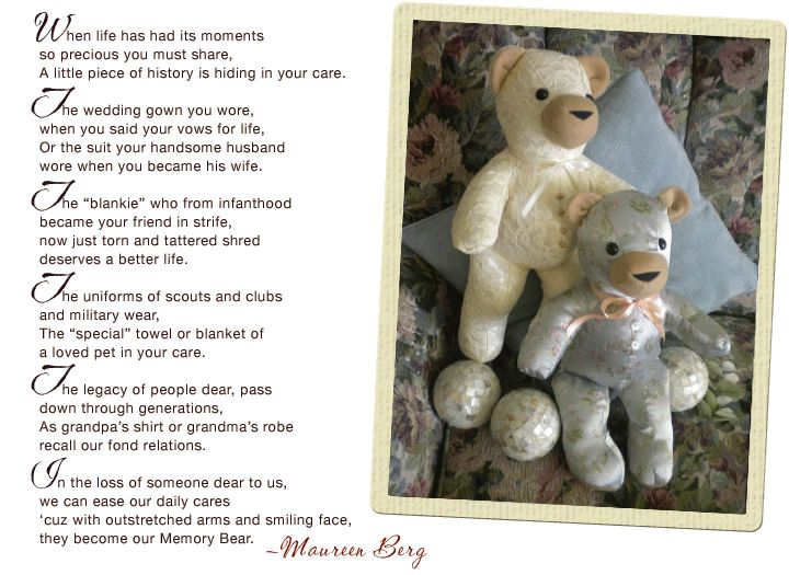 79 best Memory bears images on Pinterest   Doll, Molde and Teddy bears : memorial quilt poems - Adamdwight.com