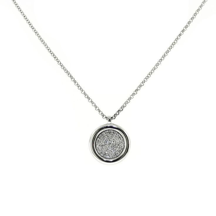 Micro Pave Diamond Circle Necklace