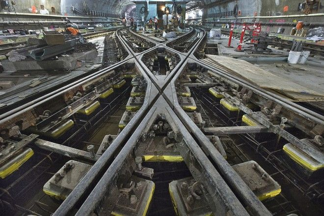 What Lies Beneath: Epic Scenes From NYC's Magnificent Underground Tunnels | A close-up of the tracks at an extension of the No. 7 line. | Photo: Metropolitan Transportation Authority / Patrick Cashin