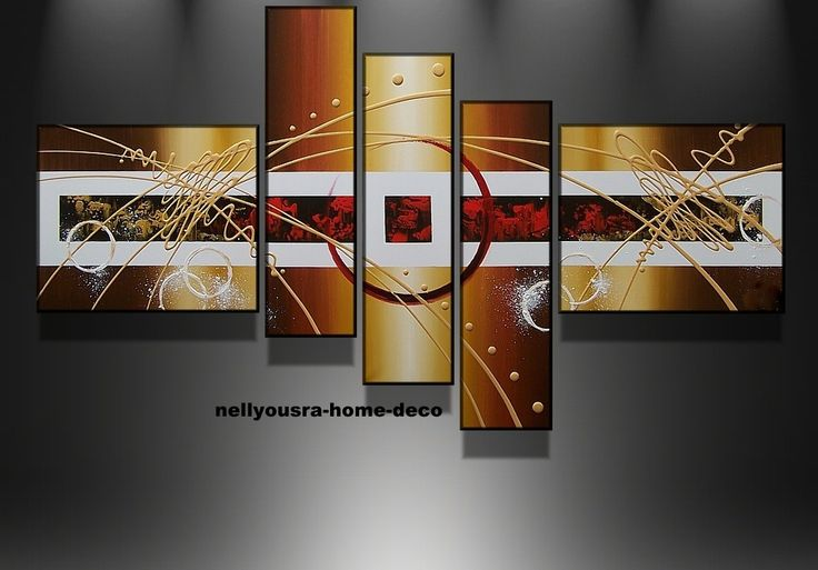 Tableaux design aquilae marron beige or rouge fait main en France : Décorations murales par nellyousra-home-deco