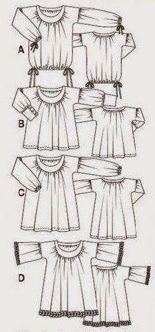 Patrón gratis Burda: túnica 4 modelos diferentes
