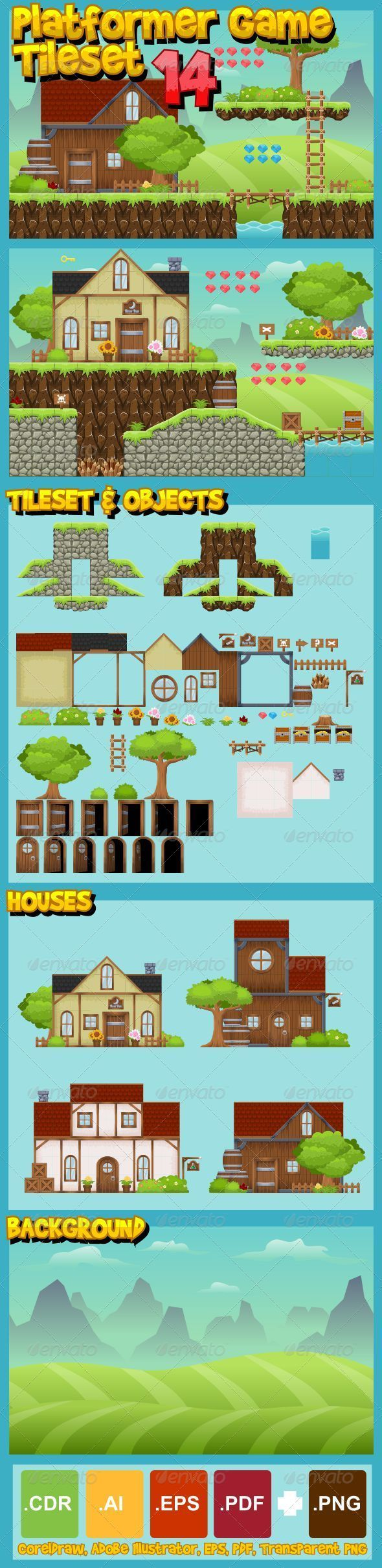 A set of vector game asset / graphic / sprite / art contains ground and house tiles and several items / objects / decorations, and premade house, used for creating platformer games.  Suitable for platformer games with medieval, adventure, action, fantasy, rpg, kingdom, village, and other similar theme. #game #asset #tileset #spritesheet #tile #set #sprite #sheet