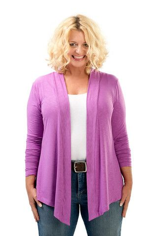 The Lola Open Cardigan Sweater in Orchid. A fall must have. Sizes 12/14 and 16/18. Made in USA. On Sale Now at www.charlieagogo.com
