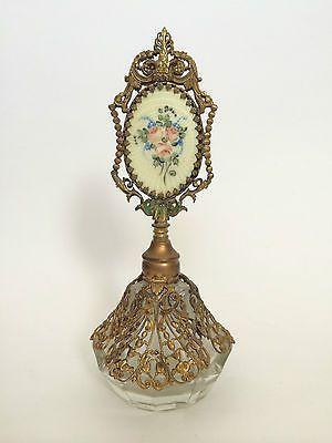 Vintage JS Czechoslovakia Czech Perfume Bottle Gold Filagree Rose Cameo | eBay