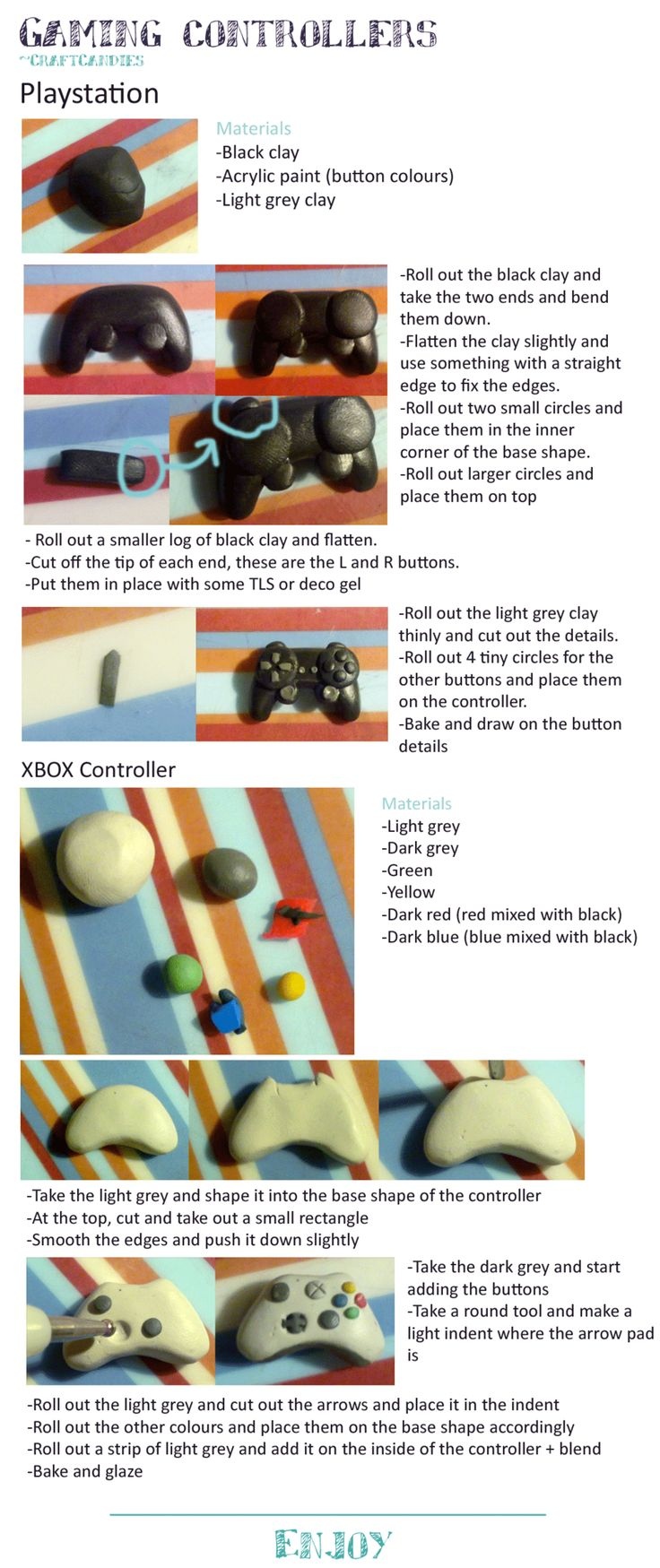 Polymer Clay : Playstation + Xbox controller by CraftCandies.deviantart.com