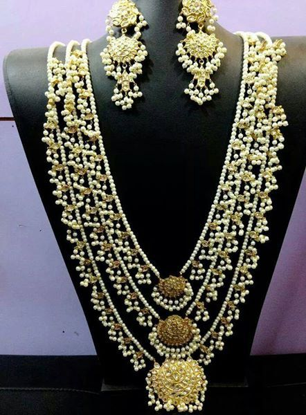 Indian Jewellery Gold Plated Rani Haar with Earrings Bollywood Style