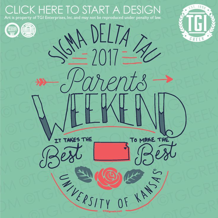 Sigma Delta Tau | ΣΔT | Parents Weekend | Family Weekend | TGI Greek | Greek Apparel | Custom Apparel | Sorority Tee Shirts | Sorority T-shirts | Custom T-Shirts