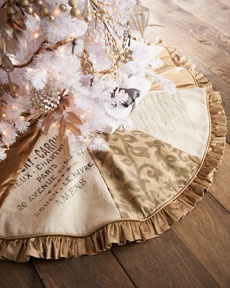 """""""French"""" Eight-Panel Christmas Tree Skirt    Eight-panel Christmas tree skirt alternates patterned panels with word/script panels for unique appeal."""