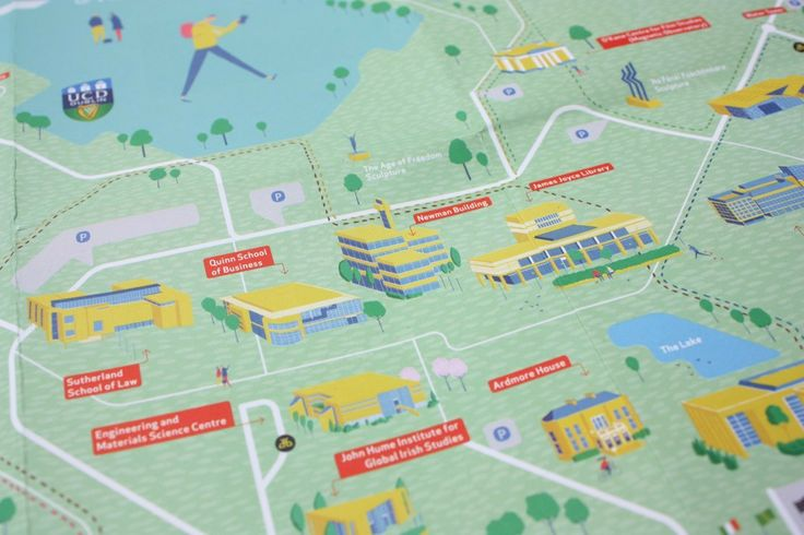UCD Campus Walking Trails Map - The 100 Archive - Simon Roche at Smoke & Mirrors Studio; illustration by Daniel Frost