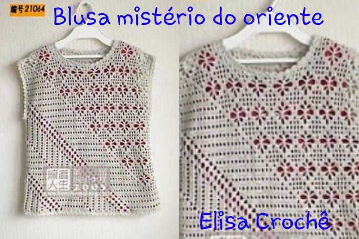 Versão destros:Blusa mistério do oriente em crochê (3° parte )# Elisa Cr...