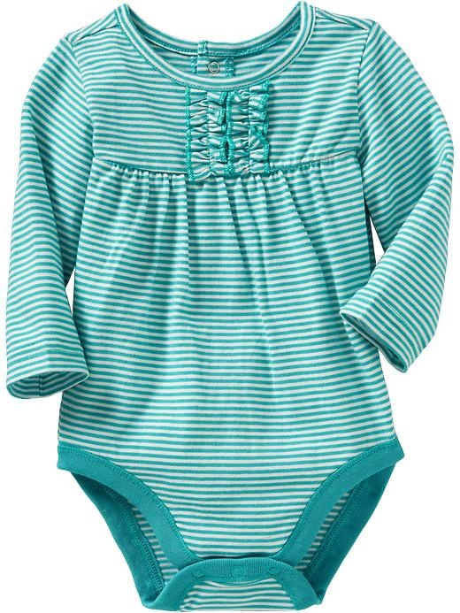 ld Navy Striped Ruffle Bodysuits For Baby