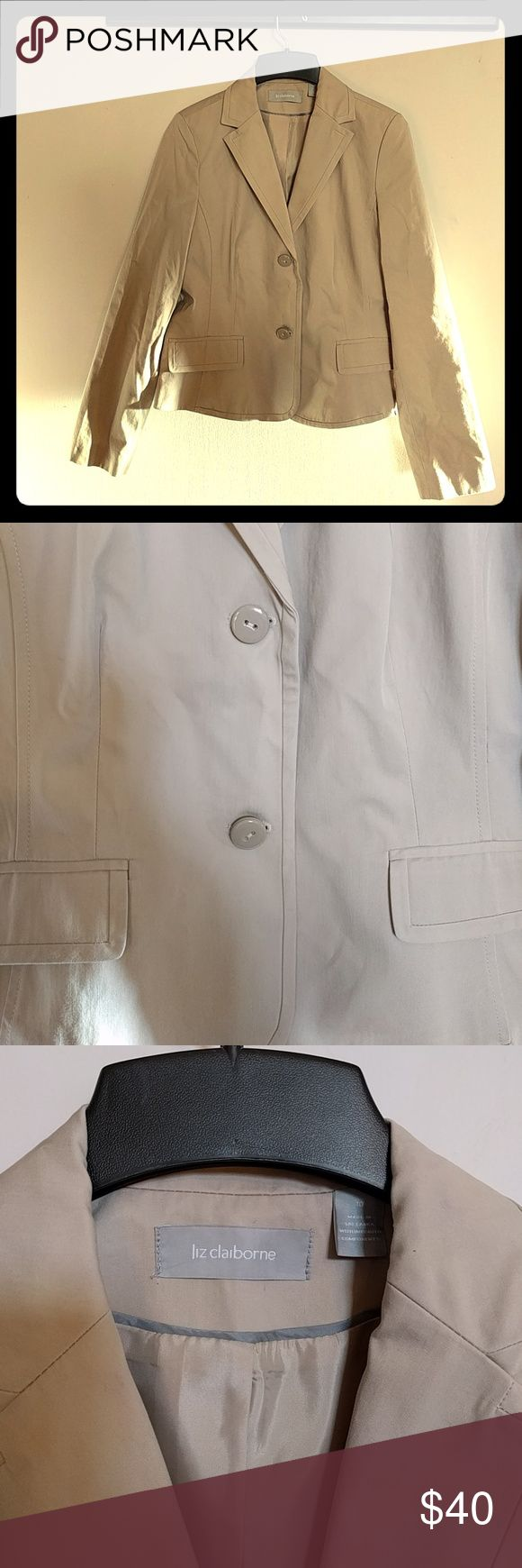 EUC Liz Claiborne Khaki Blazer / Suit Jacket Make that t-shirt look professional by throwing a blazer on top! Liz Claiborne khaki suit jacket, size 10. Fully lined. Worn only once, no damage, no visible signs of wear. Liz Claiborne Jackets & Coats Blazers