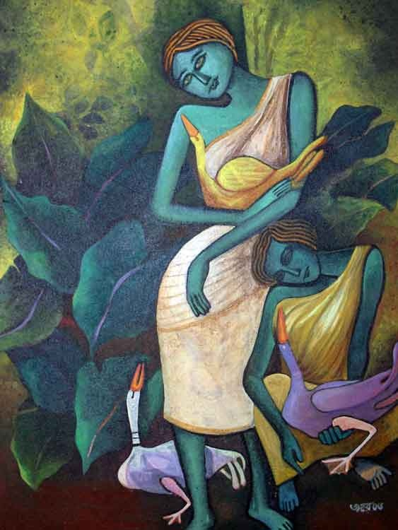 Lady with Ducks VII, fantastic realism, Indian, Jahar Dasgupta