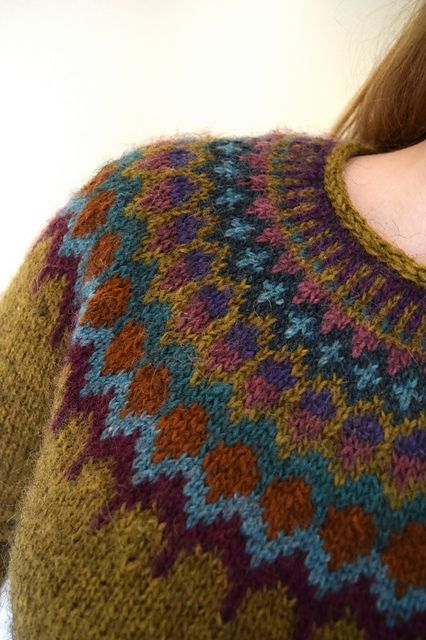 Icelandic-style yoked sweater knitted bottom up and in the round.