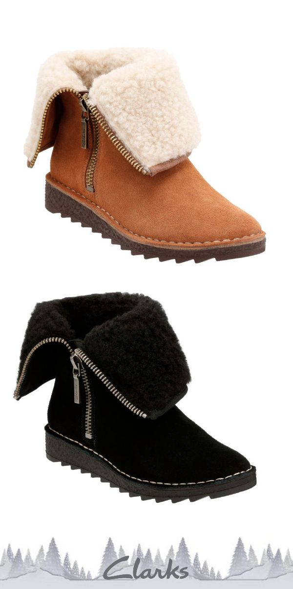 Clarks Leather Clog Boots with Faux Shearling -Preslet Pierce