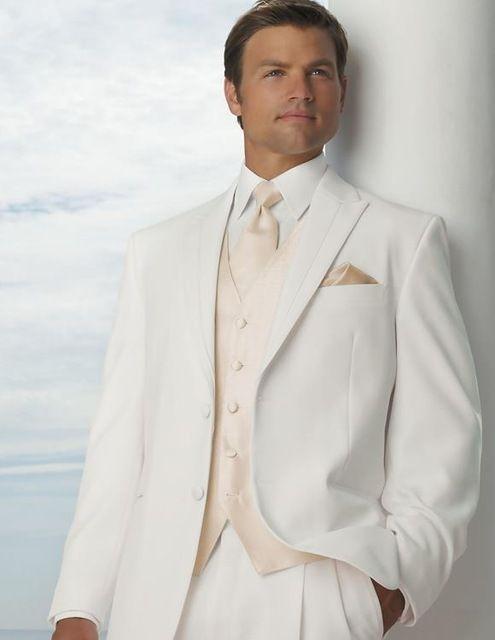 heren smoking pakken met ivoor linnen broek pak twee ivoren piek revers mannen kostuums wit trouwpak voor mannen ko5477b