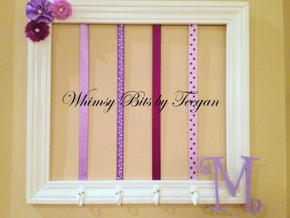 Whimsy Bits by Teegan:  Purple Tones Clip Holder Frame.  Bow Holder.  Headband Holder.  Initial and Embellishments custom.  $48.00