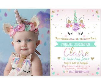 Invitación de cumpleaños de unicornio, unicornio Floral, fiesta de unicornio, invitación de arco iris, rosa oro menta púrpura