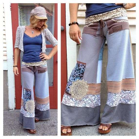 Eco Gaucho Pants patchwork clothing upcycled clothing by zasra.  I had a couple pairs of these back in the 70's...should have saved them...and my clogs :)