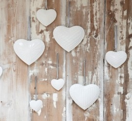 White hanging hearts.