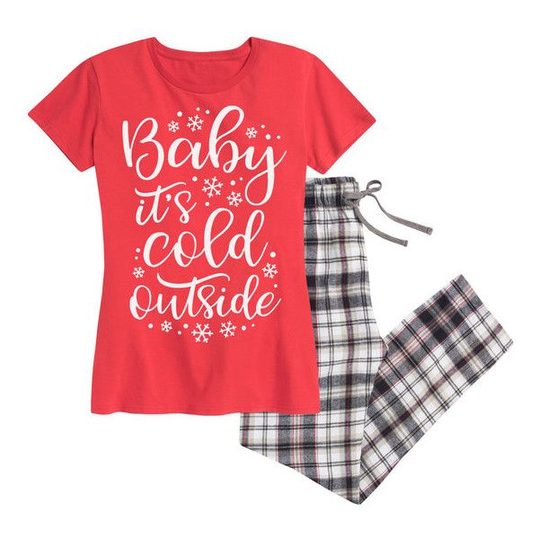 Women's Airwaves LLC Women's Holiday Tee and Flannel Pant Sleep Set... (€19) ❤ liked on Polyvore featuring intimates, sleepwear, pajamas, christmas, lounge & sleepwear, red, christmas sleepwear, holiday pjs, red pajamas and flannel sleepwear