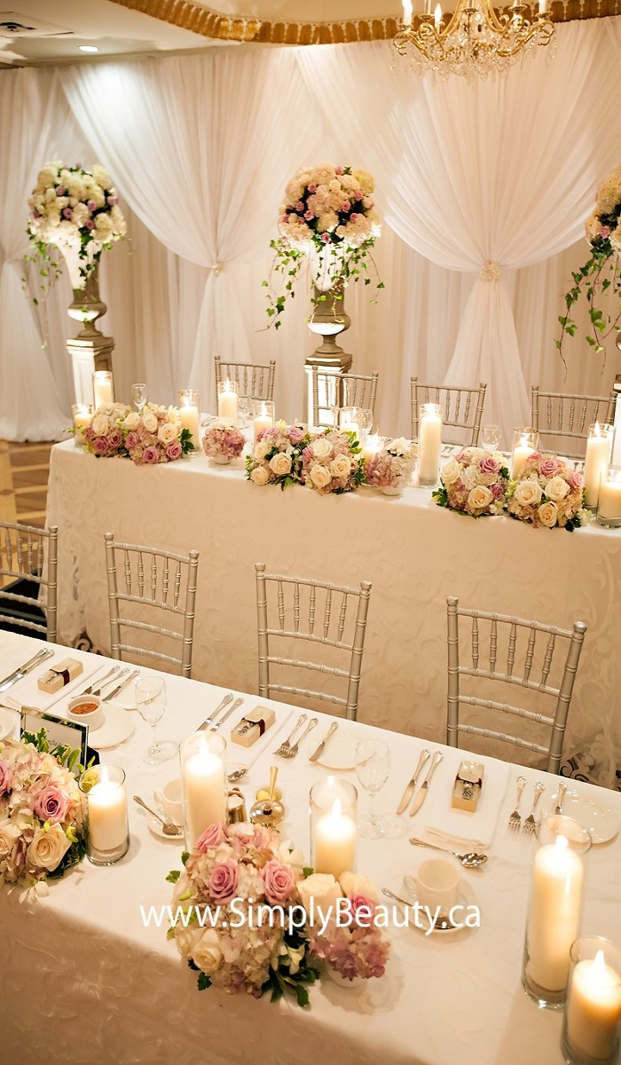 Antique wedding chair - Low Centerpieces And Chiavari Chairs With A White On White Fabric Backdrop White Sheers Tied