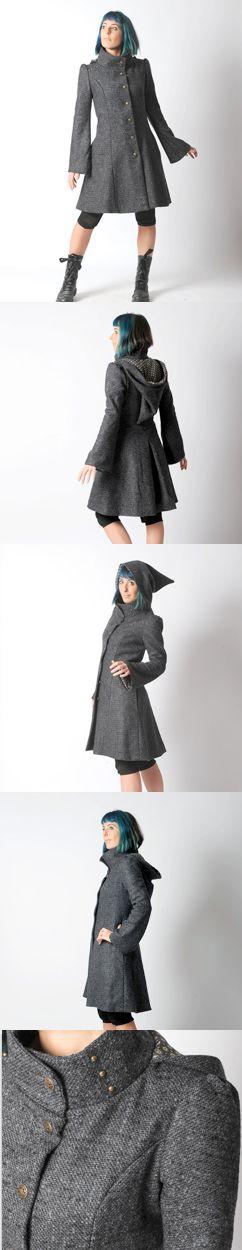 Dark grey Steampunk Coat, Womens grey winter coat with Goblin Hood and tall collar - Dark grey hooded coat - Military fashion