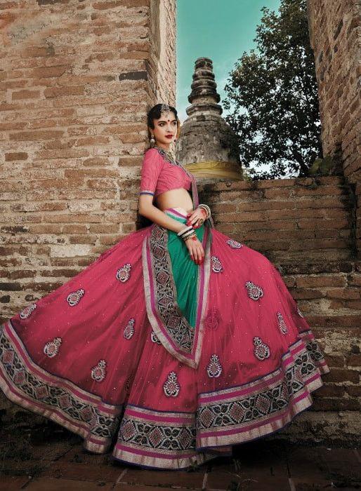 Peach Netted Designer Bridal Lehenga Choli#indiandresses #indianweddingdresses