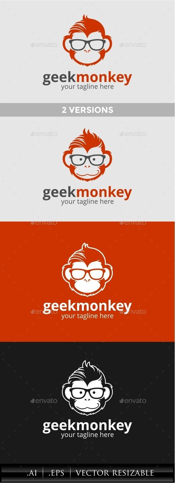 Geek Monkey Logo Template Vector EPS, AI #logotype Download: http://graphicriver.net/item/geek-monkey-logo/11451817?ref=ksioks