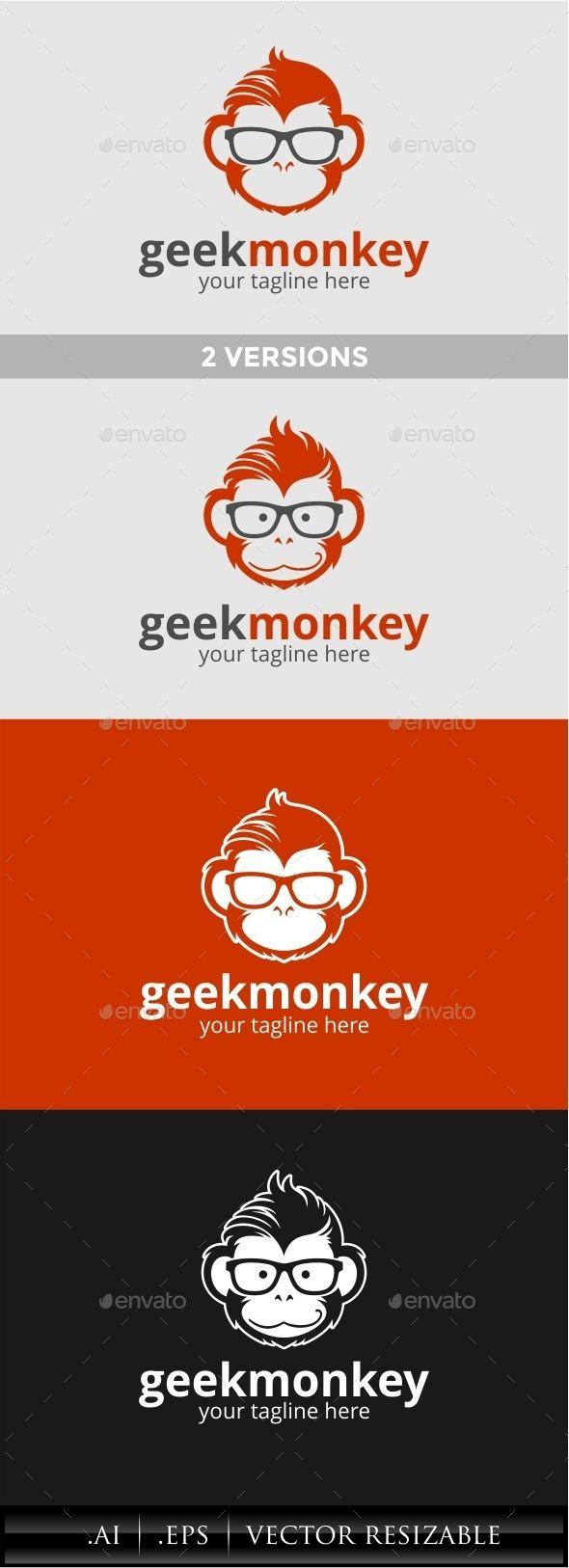 Geek Monkey Logo Template Vector EPS, AI #logotype Download: http://graphicriver.net/item/geek-monkey-logo/11451817?ref=ksioks