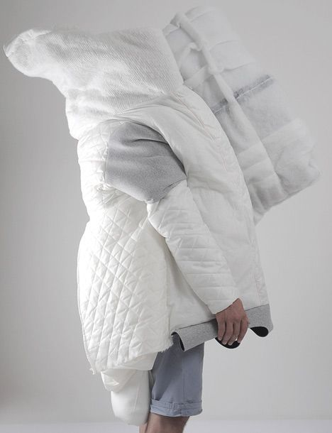 "This wearable cocoon of quilts and blankets by Slovakian architecture graduate Danica Pistekova is just right for people who wish they could take their bed with them in the morning. ""The project is something in between,"" Pistekova told Dezeen. ""Between fashion and architecture, small and big, private and public, intuitive and logical."""