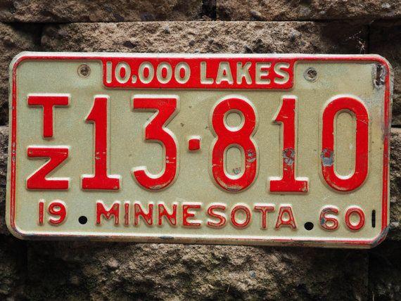Antique License Plate - 10000 Lakes - Minnesota - 1960 & 185 best License Plates images on Pinterest | Licence plates ...