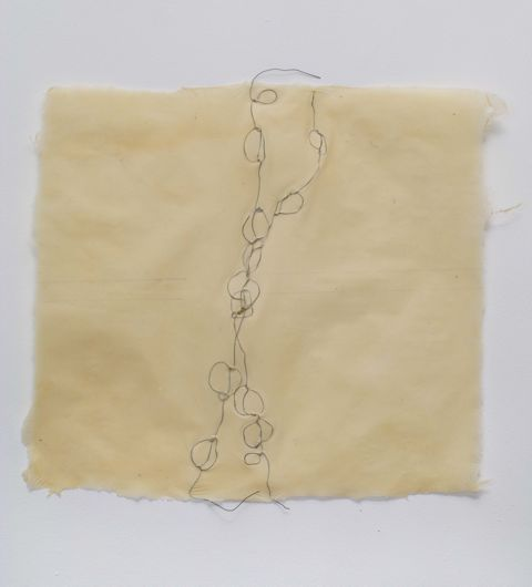 Interior Structure, by Nancy Cohen. 2009, Wire-embedded handmade paper, 18 x 20 inches