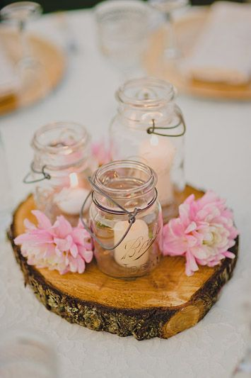 Wood Rounds - Light Pink Flowers - Mason Jars - Tea Lights - Wedding Centerpiece - © Ryan Flynn Photography