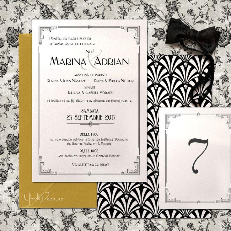 GATSBY - Invitații nuntă Art Deco