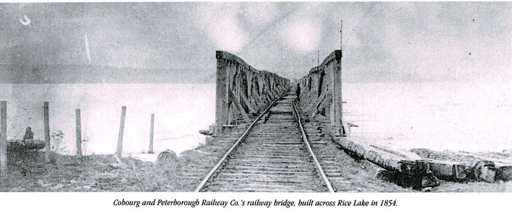 The Cobourg and Peterborough Railway Co.'s railway bridge spanning across Rice Lake, built in 1854.