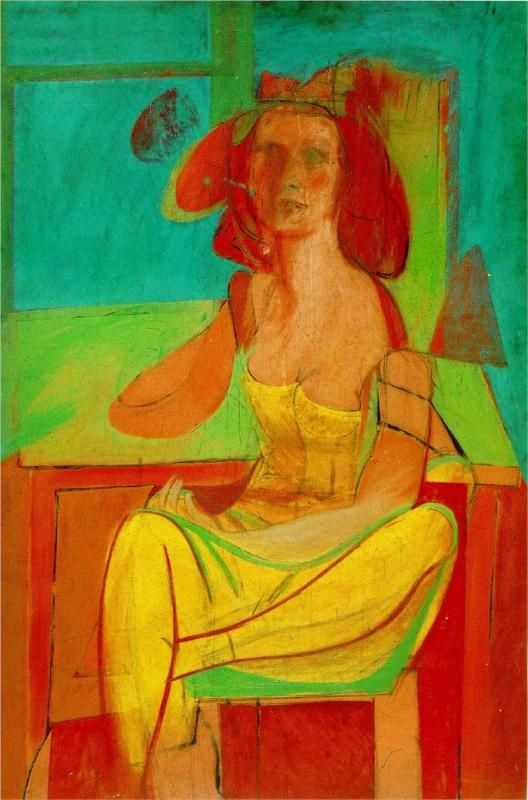 Willem de Kooning: Seated Woman (1940) - portrait of wife, Elaine, probably - see image of her above ...